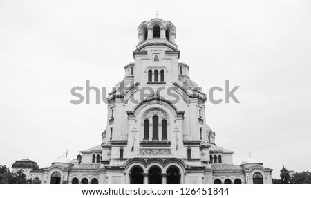 The St. Alexander Nevsky Cathedral, a Bulgarian Orthodox cathedral in Sofia, the capital of Bulgaria. Is one of the largest Eastern Orthodox cathedrals in the world, as well as one of Sofia's symbols. - stock photo