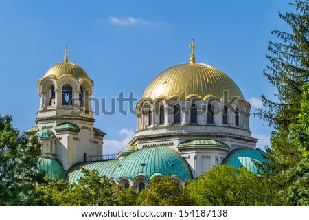 The St. Alexander Nevsky Cathedral in Sofia, Bulgaria - stock photo