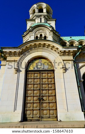 The St. Alexander Nevsky Cathedral is a Bulgarian Orthodox cathedral in Sofia, the capital of Bulgaria - stock photo