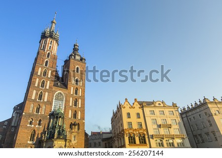 The St Mary church at the main market in Krakow in Poland. - stock photo