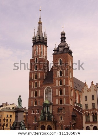 The St Mary church at the market in Krakow in Poland - stock photo