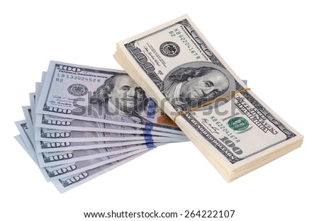 The stack is 100 dollar bills USD and a few new banknotes, isolated on white background