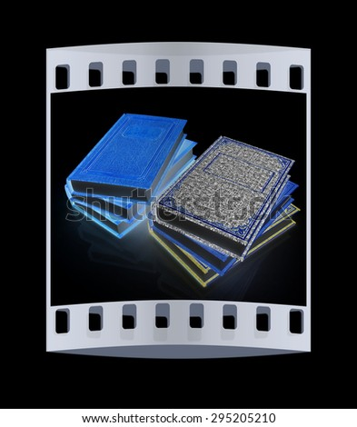 The stack of books on a black background. The film strip