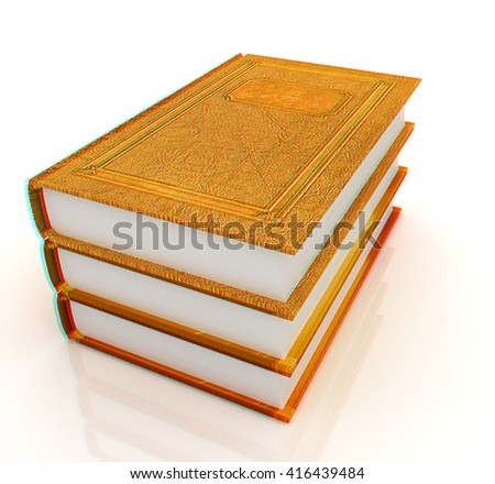 The stack of books on a white background. 3D illustration. Anaglyph. View with red/cyan glasses to see in 3D.