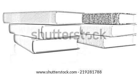 The stack of books on a white background. Pencil drawing