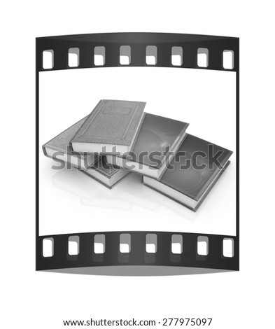 The stack of books on a white background. The film strip