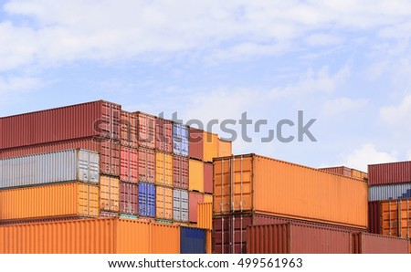 The Stack Of Container Storage On The Ship Yard Before Export Process.The Container  Storage