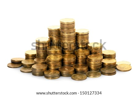 The stack of gold coins isolated on a white background - stock photo