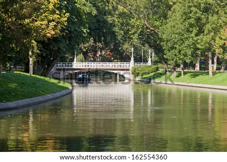 The Stadsbuitengracht, Utrecht's original defensive moat is now a popular canal and park. - stock photo