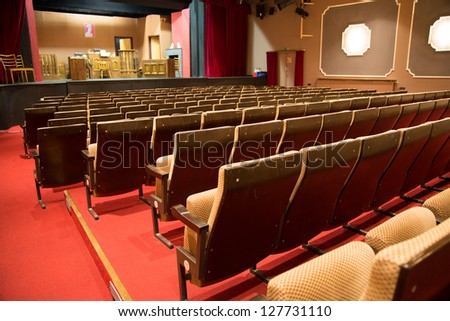 The stage in an empty theater