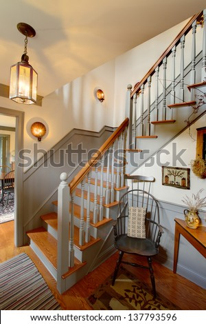 Staircase primitive colonial style reproduction home stock for Reproduction homes