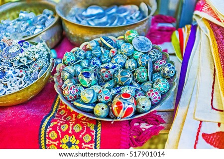 The stalls of Arab Bazaar offers the wide range of traditional beads, made of silver and colorful jewelry stones, Jerusalem, Israel.