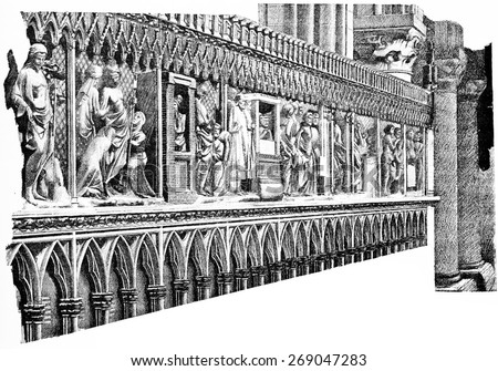 The stalls of the choir, vintage engraved illustration. Paris - August 1890.