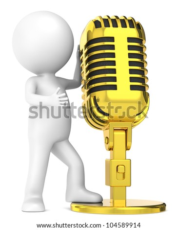 The Star. 3D little human character The Star, with a Golden Retro Microphone. . People series. - stock photo