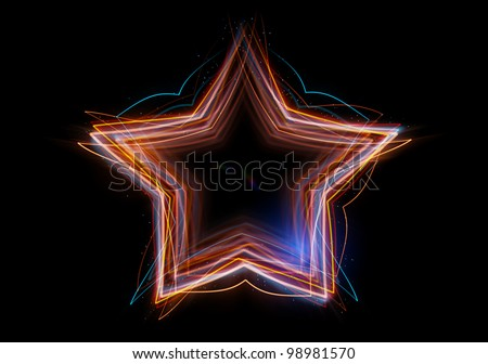 The star made up of abstract energy. Shine multicolored lines with depth of field effect.