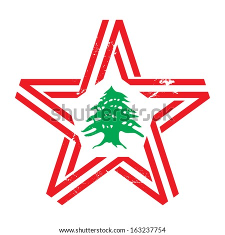 The star with Lebanon flag colors, symbols and vintage effect - stock photo