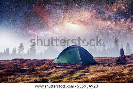 the starry sky above the tent in the mountains. Magic event in frosty day. & Starry Sky Above Tent Mountains Magic Stock Photo 535934923 ...