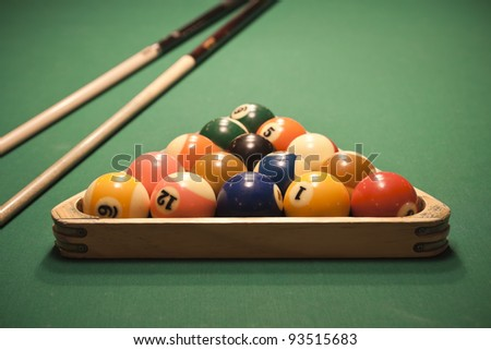 The start of the game of pool (billiard). Episode of pool game play - stock photo