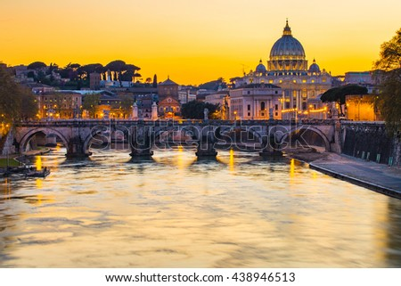 The State of Vatican City at sunset.