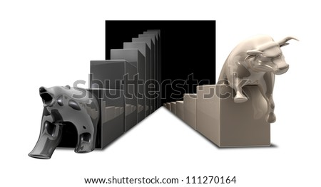 The statue depicting the downward bull and upward bear economic trends - stock photo