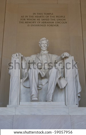 The statue of Abraham Lincoln at the Mall, Washington, USA
