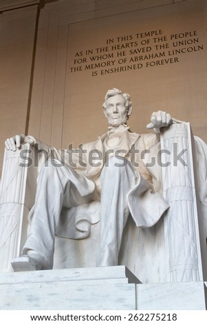 The statue of Abraham Lincoln, Lincoln Memorial, Washington DC.