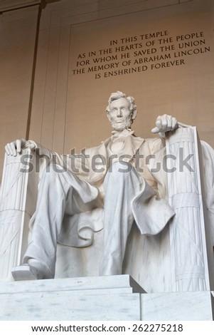 The statue of Abraham Lincoln, Lincoln Memorial, Washington DC. - stock photo