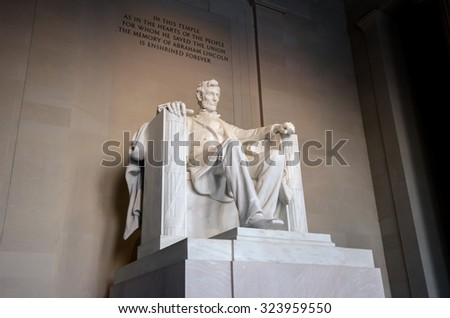 The statue of Abraham Lincoln, Lincoln Memorial, Washington DC - stock photo