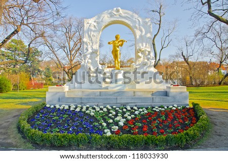 The Statue of Johann Strauss in stadtpark in Vienna, Austria - stock photo