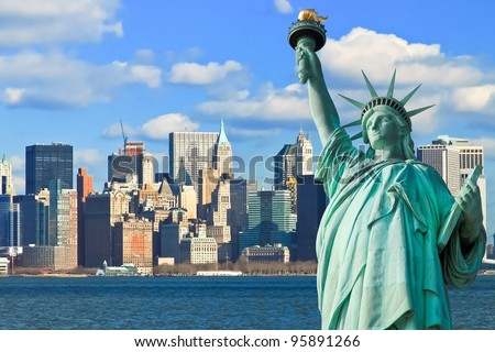 The Statue of Liberty and Manhattan New York City Skyline