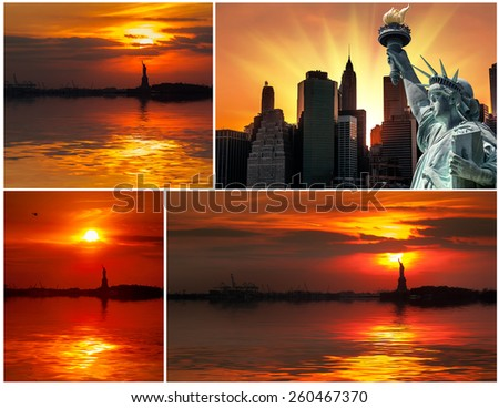 The Statue of Liberty and the setting sun. Set of 4 images - stock photo