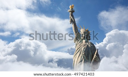 The Statue of Liberty in Clouds