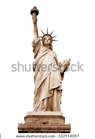 The Statue of Liberty in retro colours, New York, USA (with clipping path)