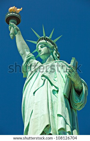 The Statue of Liberty on the Liberty Island in New York City - stock photo