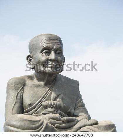 The statue of Luang Pu Thuat at Wat Huai Mongkhon, Hua Hin, Prachuap Khiri Khan - stock photo