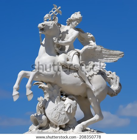 The statue of Mercury riding Pegasus illustration - stock photo