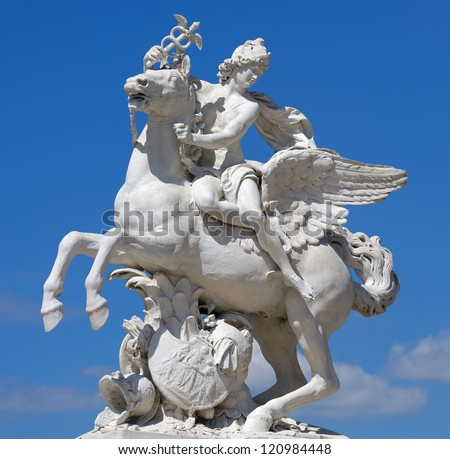 The statue of Mercury riding Pegasus in Paris - stock photo