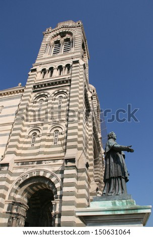 """The statue of """"Monseigneur de Belsunce"""" near cathedral """"Major"""" in Marseille, France. - stock photo"""