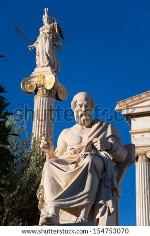 The statue of Plato. Athens, Greece. - stock photo