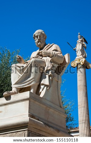 The statue of Plato. Athens, Greece. - stock photo