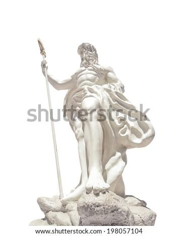 The statue of Poseidonon on isolated white background at venezia hua hin Thailand - stock photo