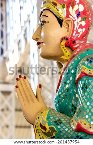 The Statue of praying  in Ngahtatkyi Pagoda Temple in Yangon, Myanmar (Burma) They are public domain or treasure of Buddhism. - stock photo