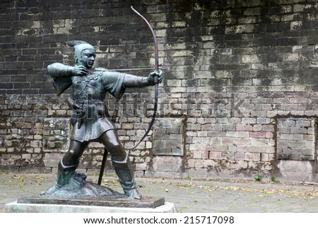 The Statue Of Robin Hood at Nottingham Castle, Nottingham, UK - stock photo