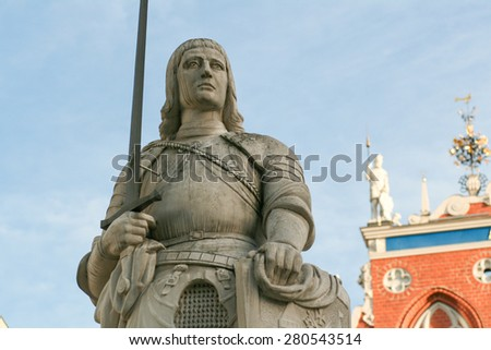 The statue of Roland in Old Riga. Latvia - stock photo