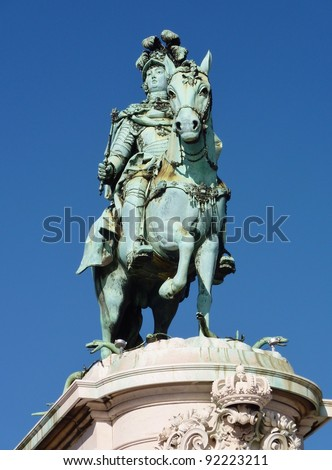 The statue of Sao Jorge on the praca do Comercio in Lisbon in Portugal - stock photo