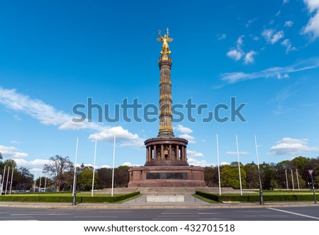 The Statue of Victory at the Tiergarten in Berlin - stock photo