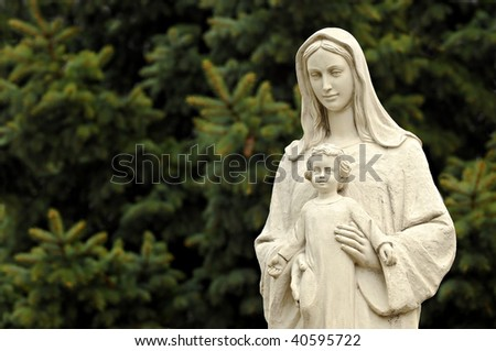 The statue of Virgin Mary and Jesus boy - stock photo
