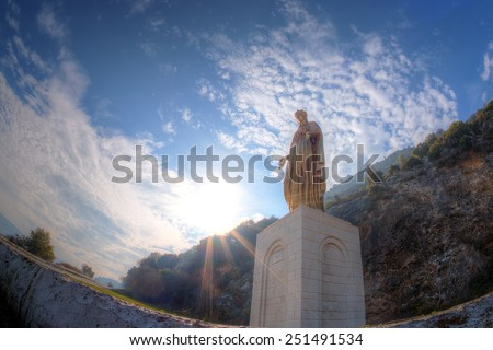 The statue of Virgin Mary in Ephesus, Selcuk, near the House Of Virgin Mary. - stock photo