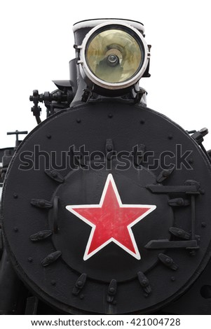 The steam locomotive old on a white background - stock photo