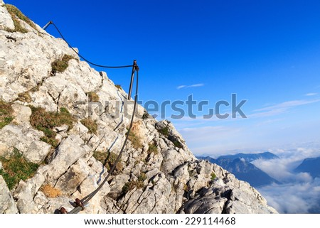 The steel cable from the via ferrata onto the Watzmann